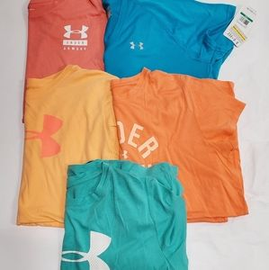 Lot of 5 Under Armour crew vneck t shirts large